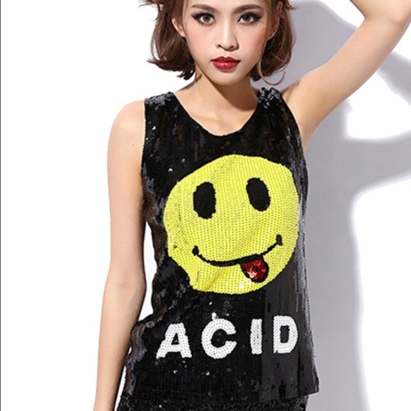 Yellow Rave Face T Shirt Smiley Tee Xmas Gift Acid Top Comedy Fun Raver Party FC