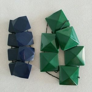 Banana Republic Blue & Green Cube Bracelets
