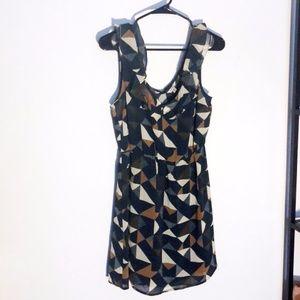 Blue and tan geometric print empire waist dress