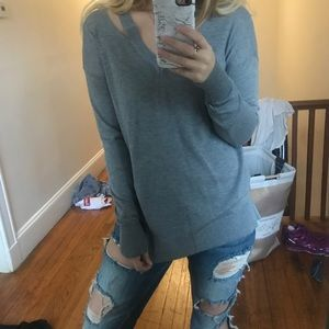 GREY SWEATER WITH CUT OUTS