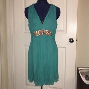Dresses & Skirts - Teal Party Dress w/ Gold Sequins