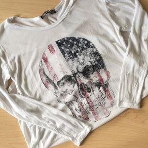 American Flag skull long sleeve tee NWT