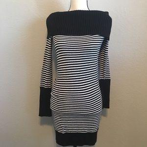 BCBGMAXAZRIA Striped Cowl Neck Sweater Dress