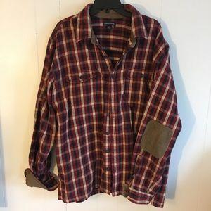 Men's plaid flannel with suede details