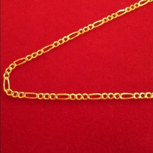 "Other - Solid Gold Figaro Chain 22"" 10K Real Gold Necklace"