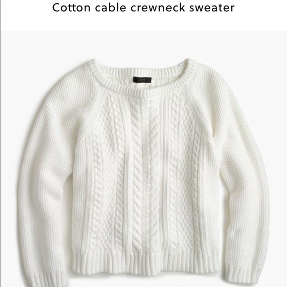a4b553392 J. Crew Sweaters - J. Crew White Cotton Cable Knit Sweater Sz XXS
