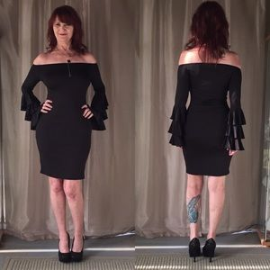 Dresses & Skirts - NEW OFF THE SHOULDER LBD WITH LONG RUFFLED SLEEVES