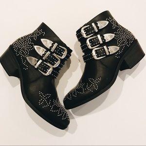 Black Studded Booties, NIB 8.5