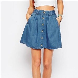 ASOS Medium Wash Denim A-like Mini Skirt 0 (UK 4)