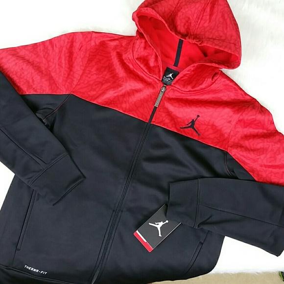 3893ec42337064  Nike Air Jordan  Kids Black Red Hoodie XL - New!