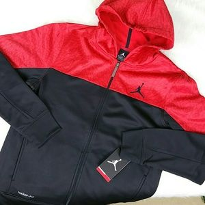 54aee982447a08 Air Jordan Jackets   Coats -  Nike Air Jordan  Kids Black Red Hoodie