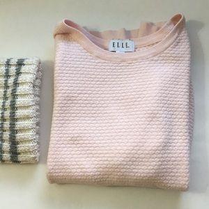 ELLE pink three quarter sleeve sweater