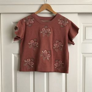 Blush pink crop top with flower embroidery