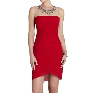 BCBGMAXAZRIA Maia red embellished cocktail dress