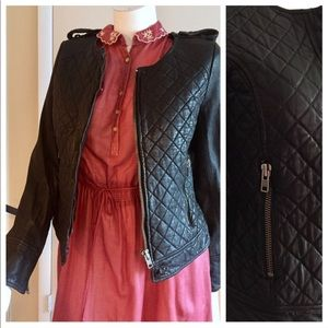 French Connection Leather Jacket, Quilted, Sz 4