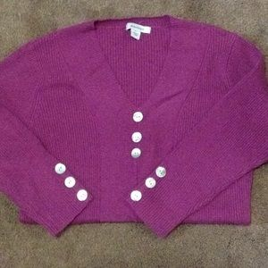 Berry color sweater. 3/4 length sleeves