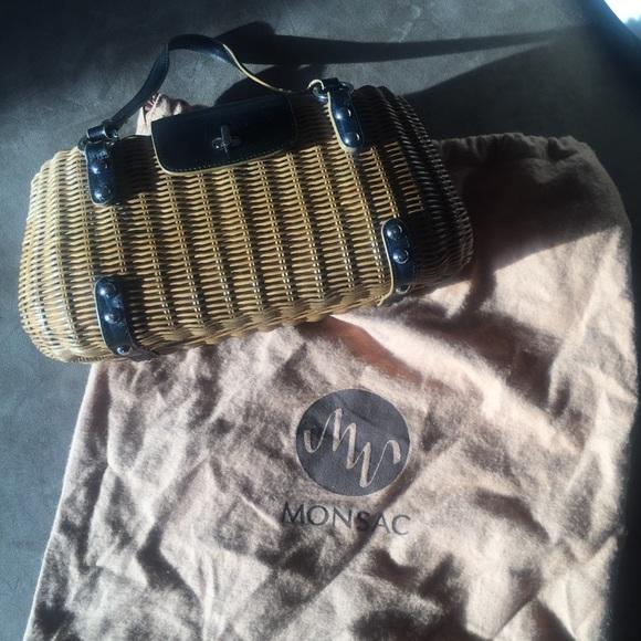 fc22aaf764a93 Monsac Wicker Basket Satchel Black Leather Straps
