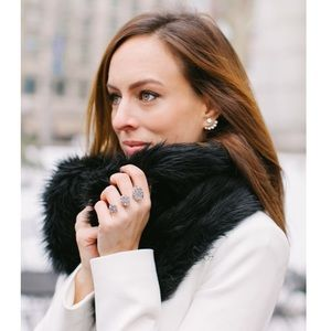 Ann Taylor faux fur black infinity scarf
