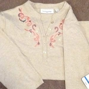 Camel color knit top. 3/4 length sleeves