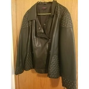 FINAL PRICE!!!Black faux leather studded jacket