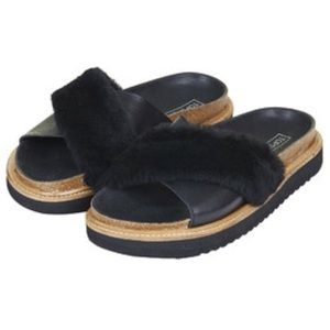 Topshop leather and faux fur sandals