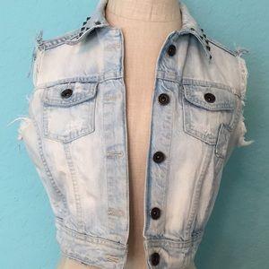 💥💧⬇️ZARA TRF  Cut Off Cropped Denim Vest