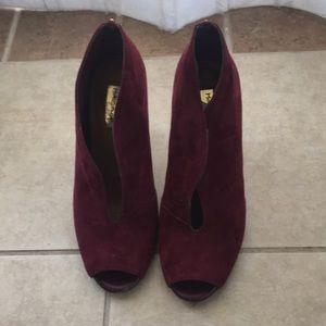Burgundy Suede Heel  with Stud Detail
