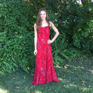 Free People Garden Party Maxi Dress Red XS S