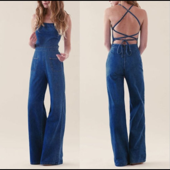 up-to-datestyling select for clearance buy Backless denim Jean jumpsuit wide leg 70s style NWT