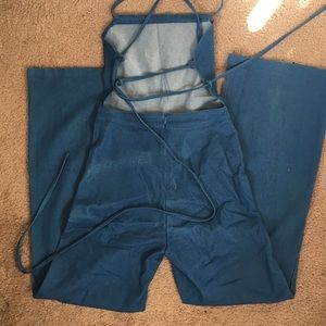 c6e7e5c487f6 Nasty Gal Pants - Backless denim Jean jumpsuit wide leg 70s style