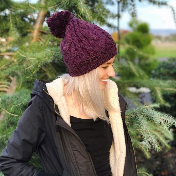 56785550a0df2 Purple cable knit beanie hat with pom