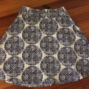 Navy and White Patterned High Waist A-Line Skirt