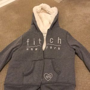 Sherpa lined Abercrombie and Fitch zipped hoodie