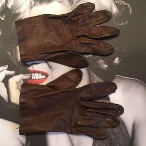 Vintage Mid Century Brown Leather Driving Gloves