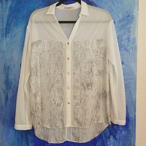Gorgeous Jaspal white sheer snakeskin print blouse