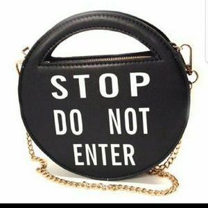 Pink Haley Stop Do Not Enter Black Clutch