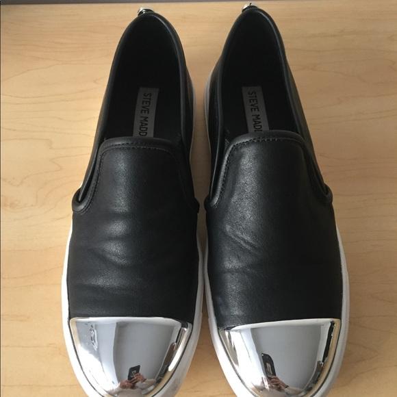 288f0adc6b550 Steve Madden silver toe black sneakers