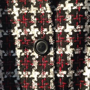 George Jackets & Coats - Red, black, white houndstooth print jacket.