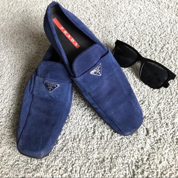 b5d83e5e756 Prada Shoes - PRADA blue suede LOGO driver loafers s38