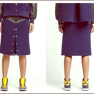 Nike Lab Skirt Navy Fleece Wool Leather Trim
