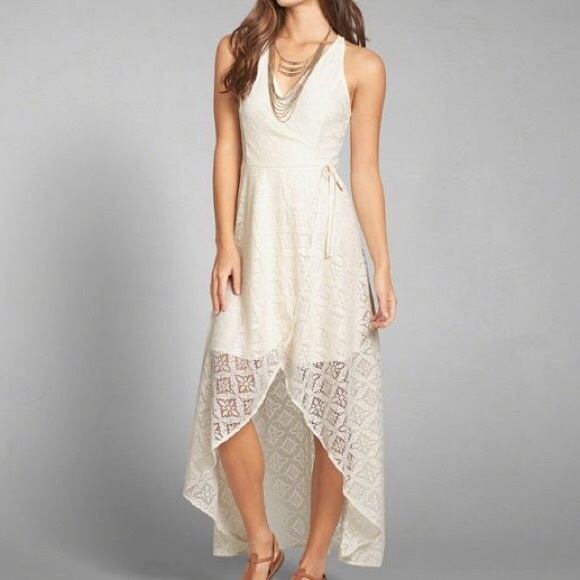 Abercrombie And Fitch White Lace Wrap Front Dress