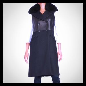 BcbgMaxazria Leather Vest w/ Fox Fur Collar