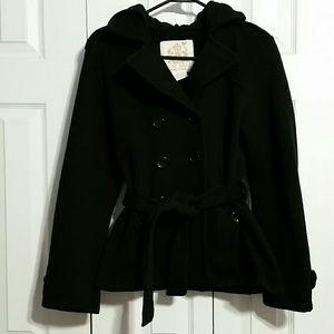 Hooded pea coat - comfy sweatshirt material!