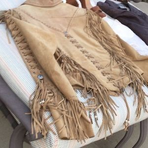 Cripple Creek M L tan suede braided fringe coat
