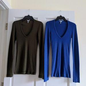 Splendid Blue & Green Long-Sleeve V-Neck Bundle