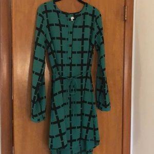 Green/Black Pattern Dress