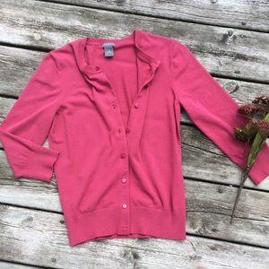 Ann Taylor Dusty Rose 3/4 Sleeve Cardigan