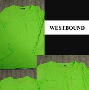 Westbound bright green blouse v-neck extra large