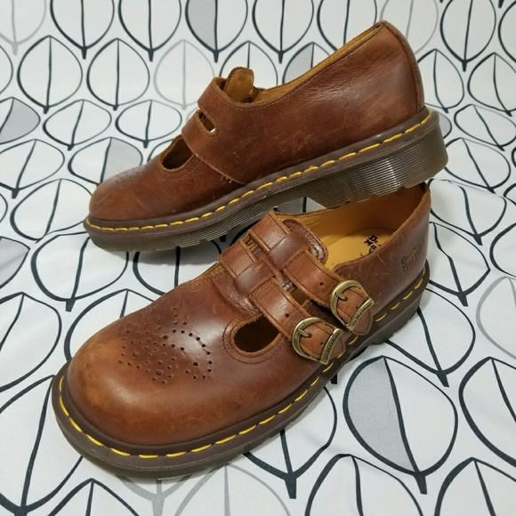 4991c3186f53f DR. Martens Brown 90s Mary Jane Leather Shoes