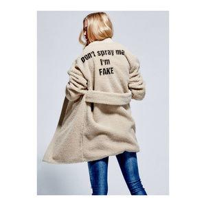 GUESS Animal Rights Faux Sherpa Fur Jacket Coat